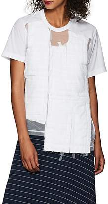 Comme des Garcons Women's Tulle-Overlay Patchwork Crepe T-Shirt