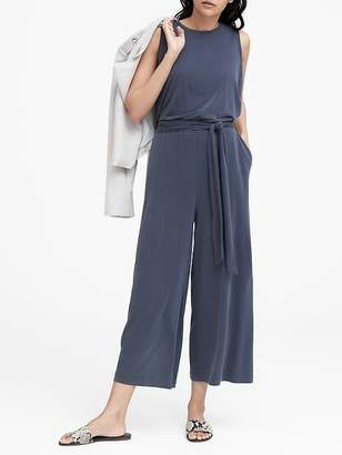 Banana Republic Petite Sandwash Modal Cropped Wide-Leg Jumpsuit