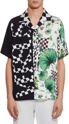 Versace Check Print Camp Shirt