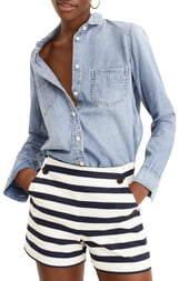 J.Crew Side Button Stretch Grasscloth Sailor Shorts