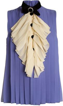 Gucci Bow-detail pleated silk top