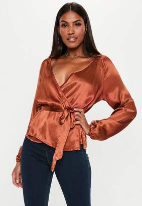 Missguided Rust Wrap Tie Waist Blouse