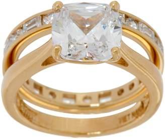 Diamonique Cushion Bridal Ring Set, 14K Gold Clad