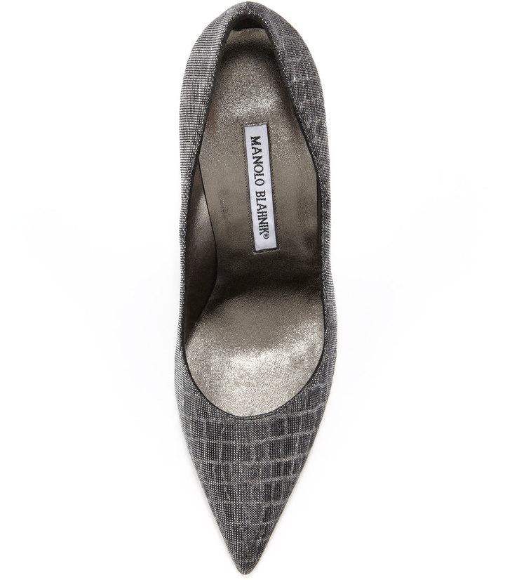 Manolo Blahnik Metallic Croc-Print BB Pump, Gray/Silver