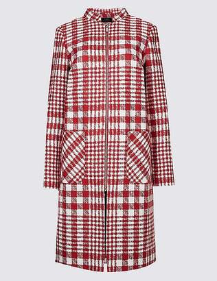 Marks and Spencer Checked Zipped Front Coat