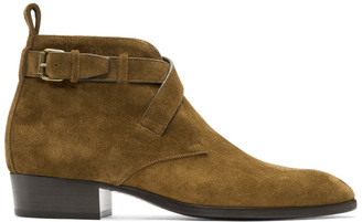 Saint Laurent Brown Suede Wyatt Crossed Buckles Boots