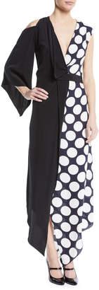 Awake V-Neck Draped One-Sleeve Asymmetric Polka-Dot Cocktail Dress