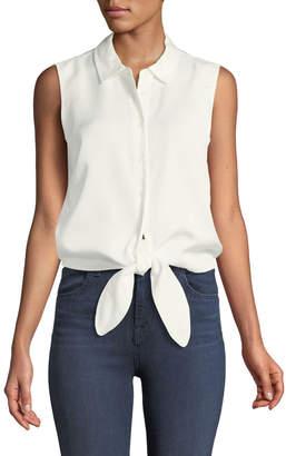 Catherine Malandrino Colby Sleeveless Button-Front Tie-Hem Blouse