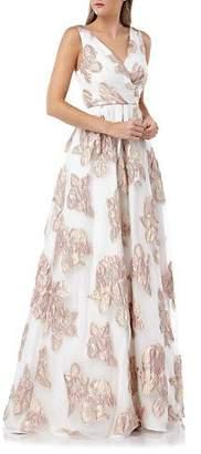 Carmen Marc Valvo Surplice Metallic Floral Embellished Sleeveless Organza Ball Gown