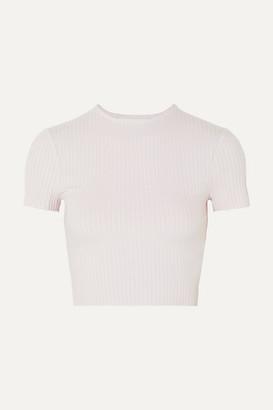 calé - Esmée Cropped Ribbed Stretch-jersey T-shirt - Lavender