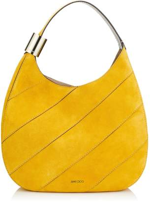 Jimmy Choo STEVIE Saffron Suede Shoulder Bag with Stitching and Elaphe