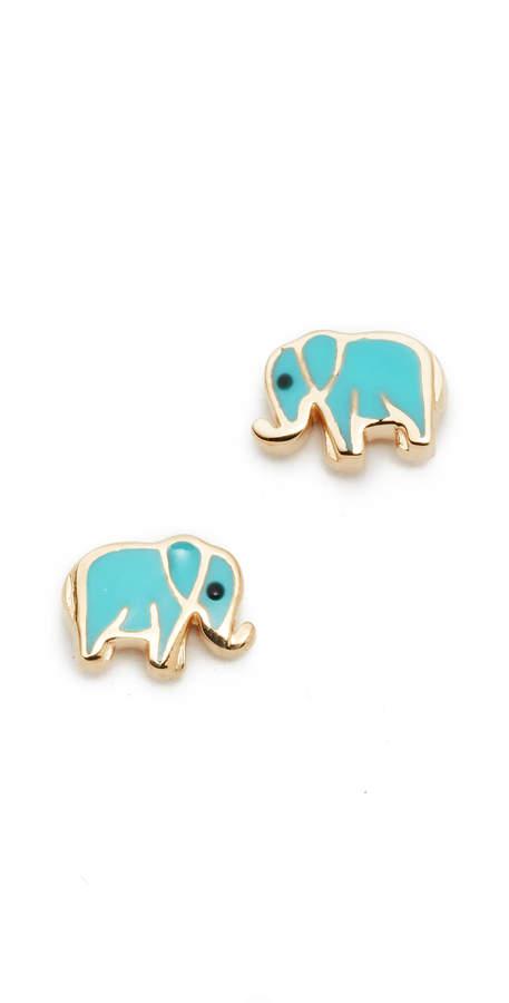 14k Gold Mini Elephant Studs