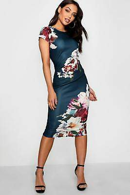 boohoo NEW Womens Floral Pleat Detail Midi Dress in Polyester