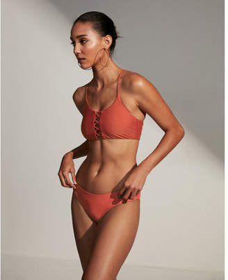 Express long line lattice bikini swim top