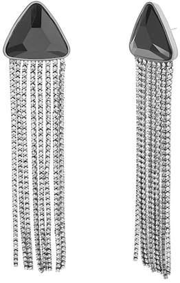 Steve Madden Crystal Glass Fringe Drop Earrings