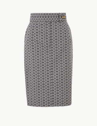 25342e6505 M&S CollectionMarks and Spencer Cotton Rich Geometric Print Pencil Skirt