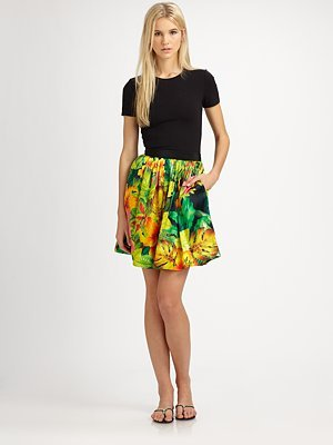 Tropical Print Silk Skirt
