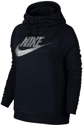 Nike Womens Rally Funnel Neck Metallic Pullover Hoodie 916586 010 Black