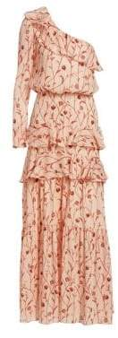 Johanna Ortiz Women's Mysterious Soul One-Shoulder Dress - Rosey Ecru Nectarine - Size 10