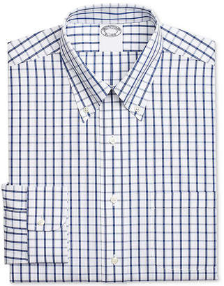 Brooks Brothers Men Milano Extra-Slim Fit Non-Iron Blue Windowpane Supima Cotton Dress Shirt