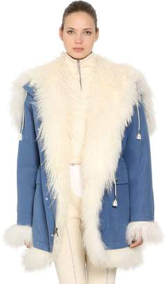 Calvin Klein Reversible Fur & Cotton Canvas Coat