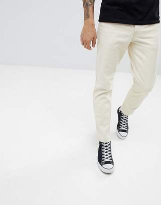 Asos Design DESIGN Slim Jeans In Ecru