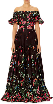 Carolina Herrera Off-the-Shoulder Button-Front Floral-Print Pleated Evening Gown
