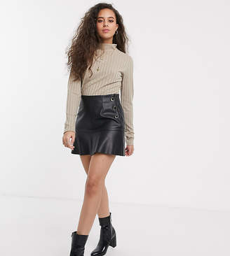 Miss Selfridge Petite faux leather skirt in black