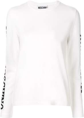 Moschino logo sleeve intarsia jumper