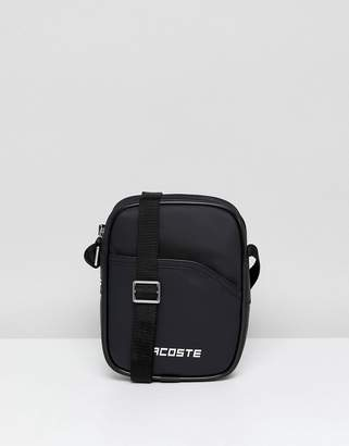 Lacoste Logo Flight Bag In Black