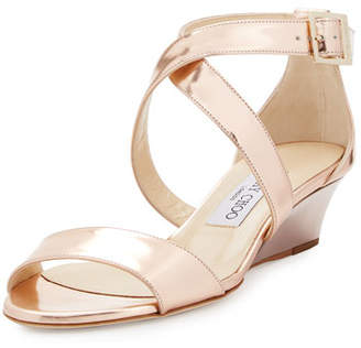 Jimmy Choo Chiara Mirrored Crisscross Wedge Sandal, Rose Gold