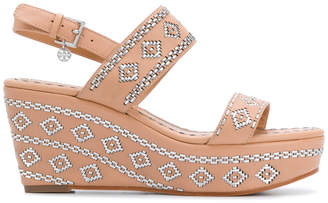 Tory Burch woven slingback wedge sandals