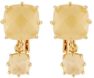 Les Nereides La Diamantine 2 Citrine Yellow Square Stones Clip Earrings - Yellow - CLIP