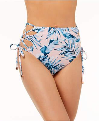 Bar III Tropic Garden Printed High-Waist Laced Bikini Bottoms, Created for Macy's Women's Swimsuit