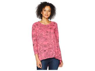 Mod-o-doc Printed Slick Jersey 3/4 Raglan Sleeve Seamed Tee Women's T Shirt