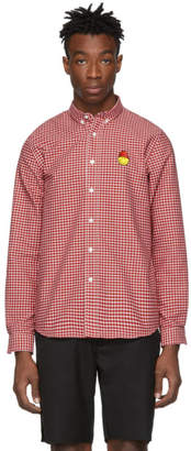Ami Alexandre Mattiussi Red and White Smiley Edition Oxford Shirt