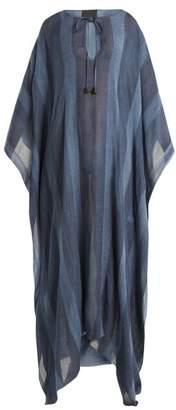 Binetti Love Striped Silk Kaftan - Womens - Blue