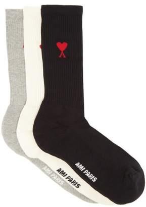 Ami Pack Of Three Intarsia Logo Cotton Blend Socks - Mens - Multi