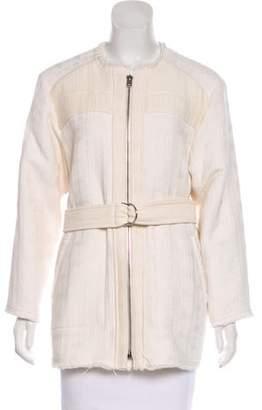 IRO Matelassé Frayed-Trimmed Jacket