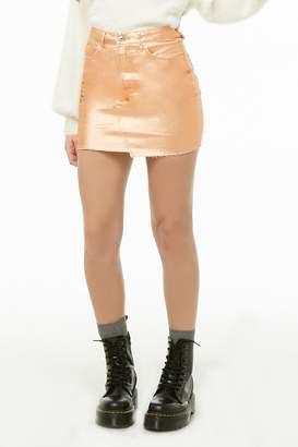 Forever 21 Metallic Denim Mini Skirt