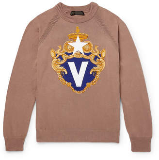Versace Appliqued Cotton Sweater - Camel