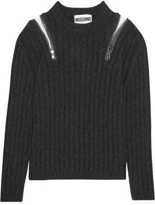 Moschino - Zip-embellished Ribbed-knit Sweater - Charcoal $750 thestylecure.com