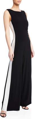Neiman Marcus Side-Striped Flare-Leg Jumpsuit