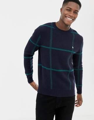 Jack Wills Zachery window pane check sweater in navy