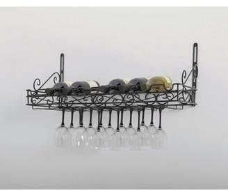 "Concept Housewares Concept Housewares, Black Metal, 8 Bottle & 24 Glass Wall Wine Rack 31""x10""x12""."