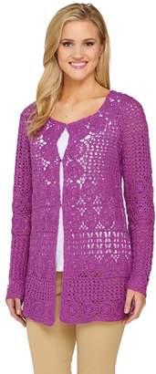 Liz Claiborne New York Hand Crochet Mixed Stitch Cardigan