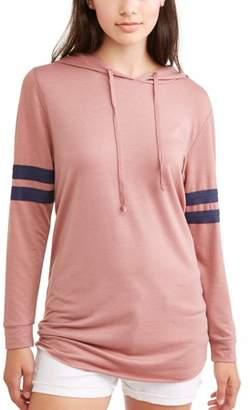 Self Esteem Juniors' Varsity Stripe Pullover Tunic Hoodie
