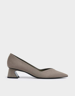 Charles & Keith Curved Block Heel Textured Pumps