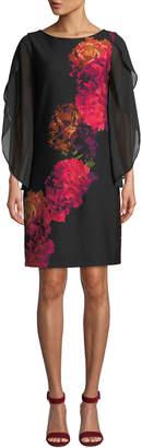 Donna Ricco Floral-Print Chiffon-Sleeve Cocktail Dress