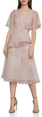 BCBGMAXAZRIA Capelet Cutout Tulle Dress